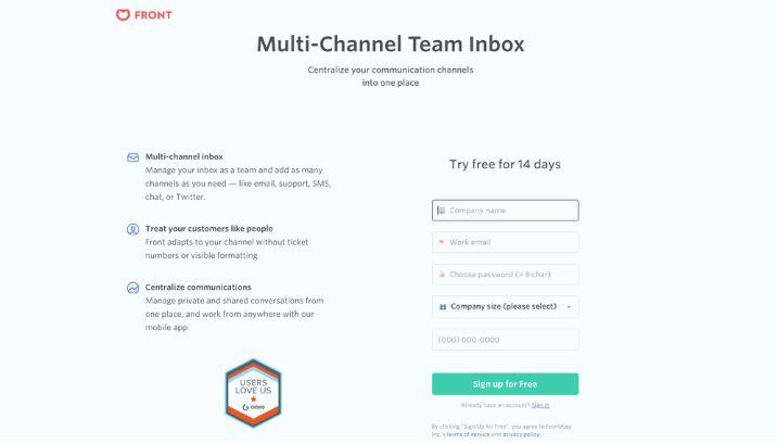 Front App giúp bạn tạo ra được một Landing page có nhiều tính năng thông minh