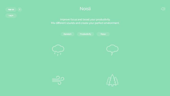 Noisli - landing page đẹp cho ứng dụng và app
