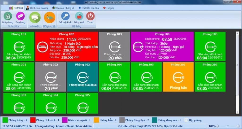 Phần mềm Ohotel với giao diện đơn giản, dễ sử dụng